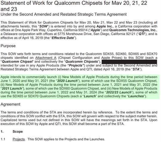 协议显示苹果需在未来四年采购高通5G基带:骁龙X55打头阵