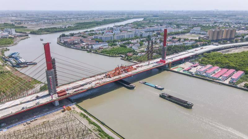 新建泖港大桥主桥今日合龙,计划明年8月建成通车