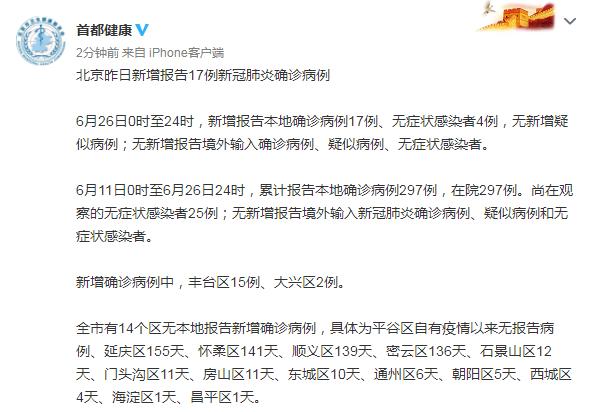 《【杏耀安卓版登录】北京6月26日新增17例新冠肺炎确诊病例:丰台区15例、大兴区2例》