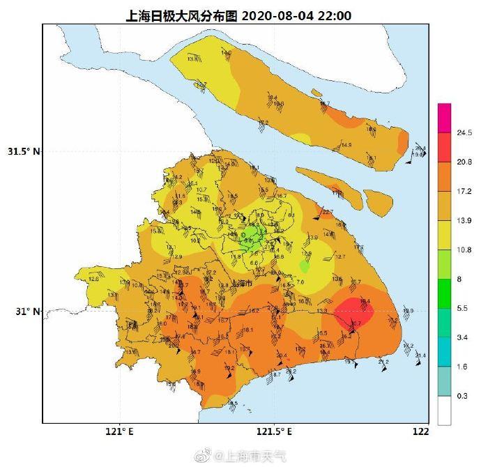 """台风""""黑格比""""22时位于江苏省苏州市境内,已经越过上海同纬度。"""