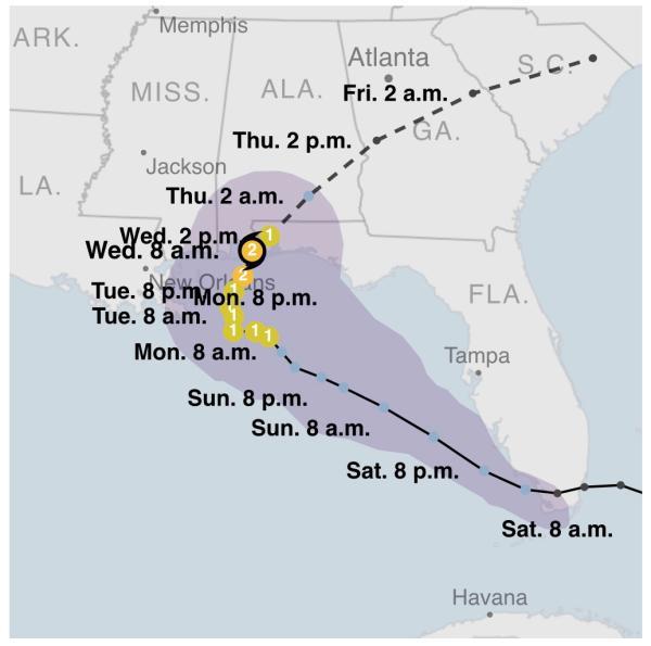 """美國國家颶風中心:""""莎莉""""已經降級為一級颶"""