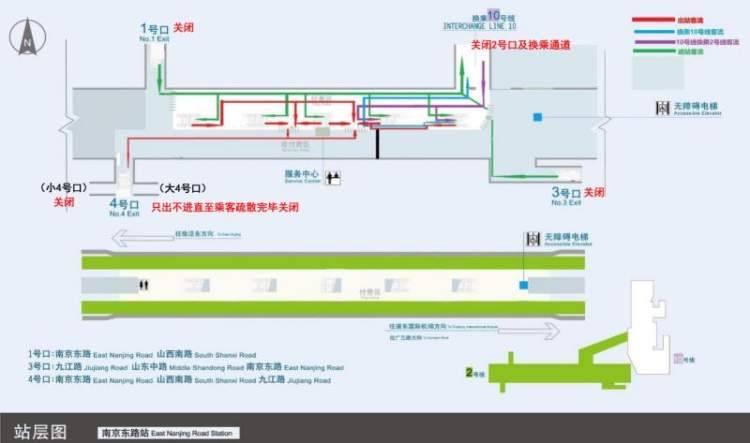 车站节假日客流管控走向图上海地铁供图