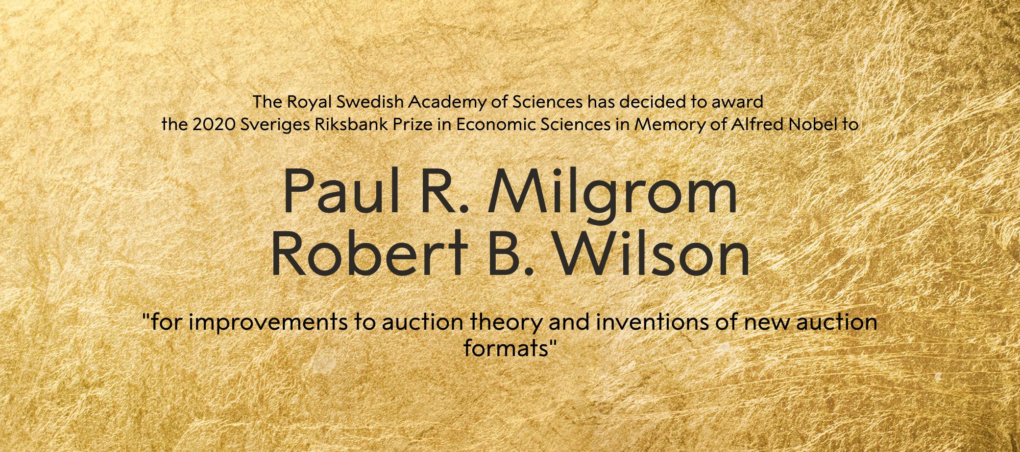 2020诺贝尔经济学奖出炉,两位美国经济学家分享奖项