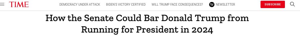 """美国联邦宪法规定,针对总统的弹劾需要参议院超过2/3的成员支持通过方可生效。一旦特朗普被裁定""""有罪"""",参议院可以继续投票杜绝特朗普此后再担任公职。"""