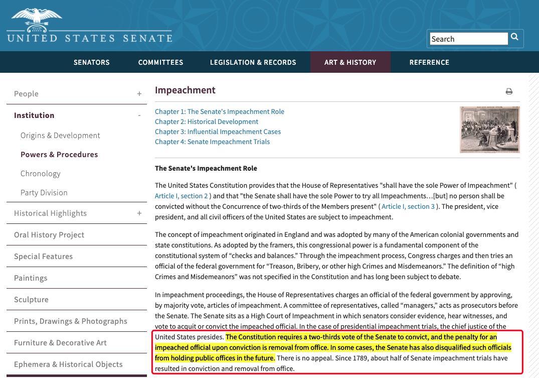 据美国联邦宪法的相关解释,只有2/3的参议院议员投票支持弹劾,弹劾才能够最终生效。(图片来源:美国联邦政府参议院官网)