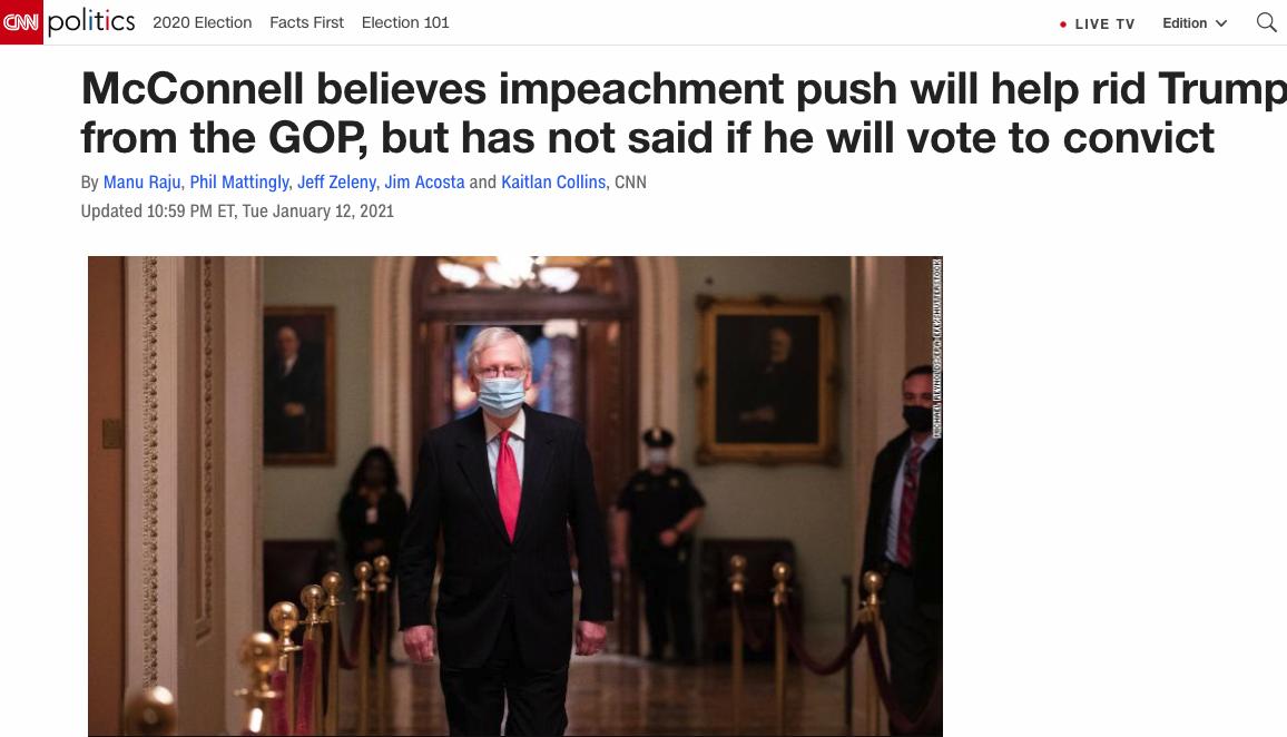参议院多数党领袖、共和党成员米奇·麦康奈尔在12日透露,弹劾能够帮助共和党将特朗普逐出党派。