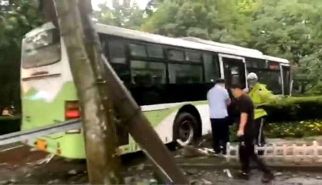 雨天路滑,沪一公交车左转中因司机操作失误冲进绿化带