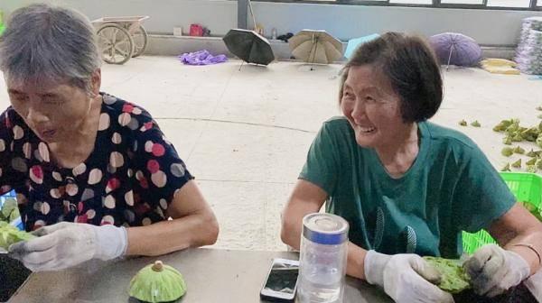 奶奶们边剥莲子边聊天。