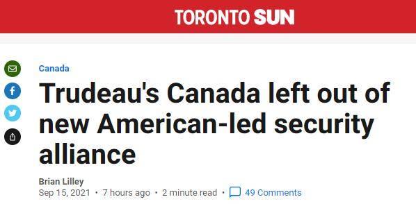 美英澳结盟,加拿大很酸,法国很受伤,欧盟不知情