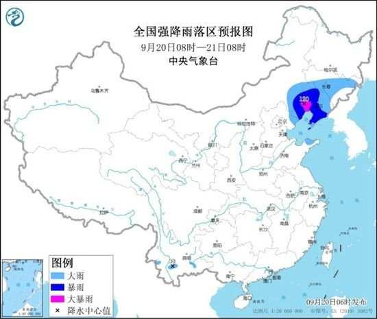 暴雨蓝色预警!河北辽宁吉林等地部分地区大到暴雨