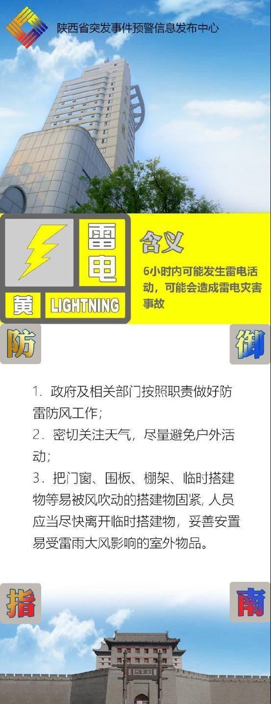 陕西继续发布雷电黄色预警 局地风力可达8级以上