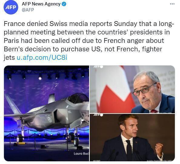 因瑞士要买美国战机法国取消两国总统会晤?爱丽舍宫:假消息