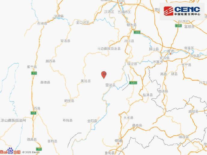 四川凉山州雷波县发生3.0级地震 震源深度8千米