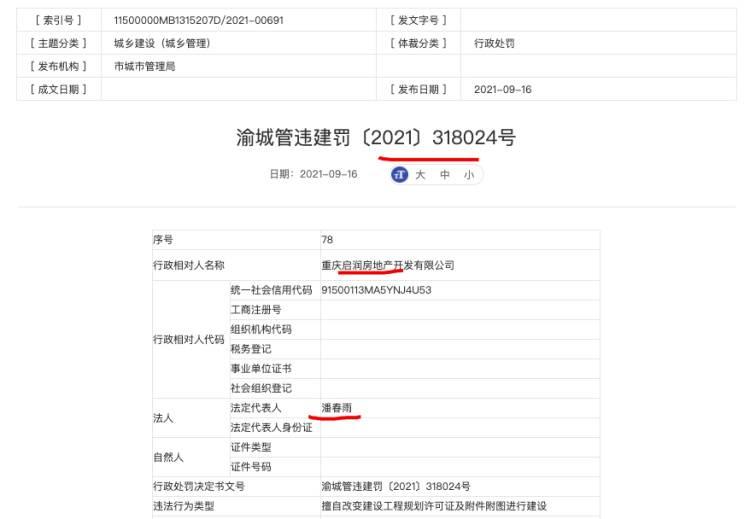 重庆启润房地产违法建设被罚 其系中国电建与武汉城建集团合营子...