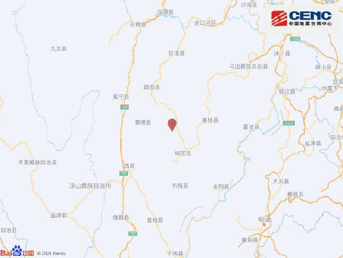 四川凉山州昭觉县发生3.1级地震 震源深度16千米