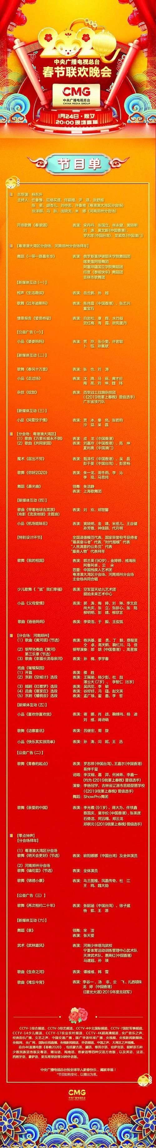 《2020年春节联欢晚会》新节目单出炉!