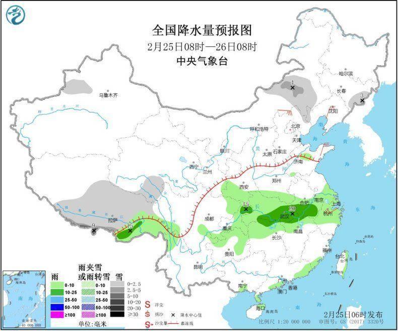 中东部将有大范围雨雪过程 黄淮南部至江南先后有降雨
