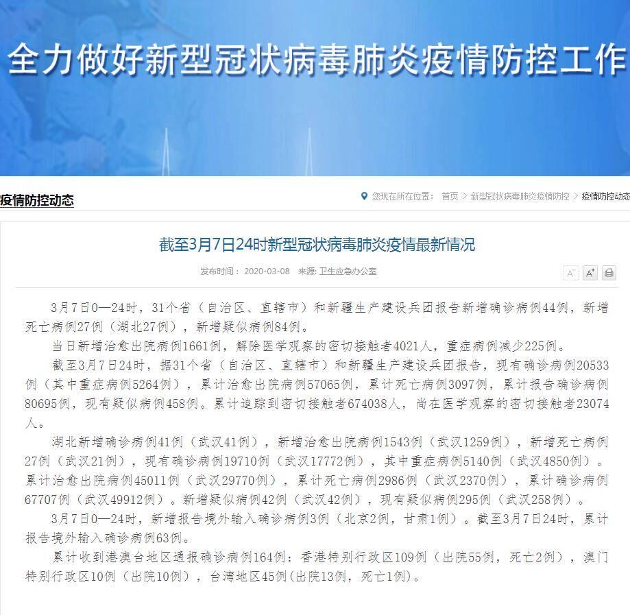 国家卫健委:新增新冠肺炎确诊病例44例