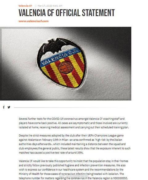 西甲瓦倫西亞俱樂部35%雇員感染新冠,包括至