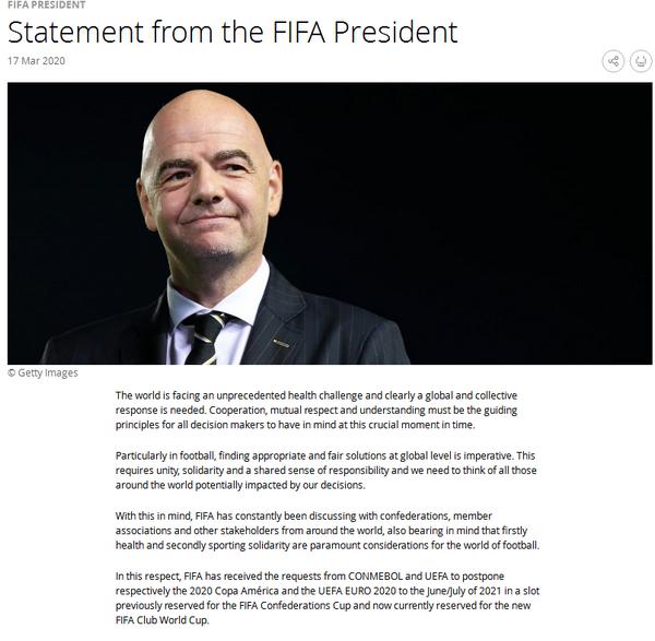 国际足联主席因凡蒂诺今晨发表声明,建议2021中国世俱杯延期